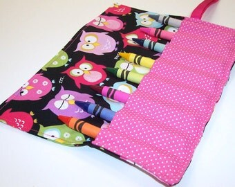 Crayon Roll - SNOOZING OWLS Crayon Roll Up - Kids - Stocking Stuffer - Party Favor