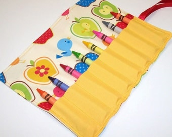 BIRDIES & APPLES Crayon Roll Up - Kids - Stocking Stuffer - Ready to Ship