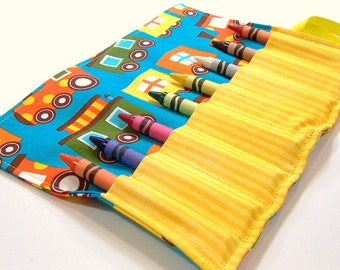 Crayon Roll - TRAINS Crayon Roll Up - Kids - Stocking Stuffer