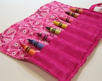 Crayon Roll - PINK BANDANA Crayon Roll Up