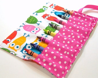 Crayon Roll - SPRING OWLS Crayon Roll Up - Stocking Stuffer - Kids - Ready to Ship