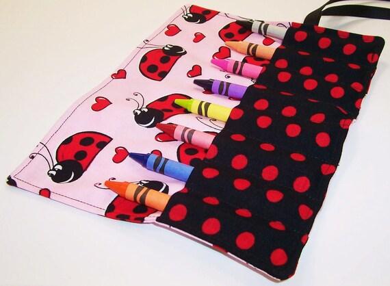 Kids Stocking Stuffer - LOVELY LADYBUGS Crayon Roll Up - Ready To Ship