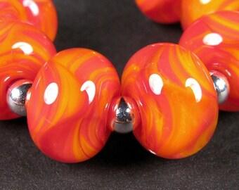 Lampwork Boro beads, Lampwork Glass Beads, Artisan Glass Beads, BBGLASSART, Wildfire