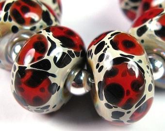 Lampwork Beads - Red Leopards - BBGLASSART - Lampwork Boro Bead