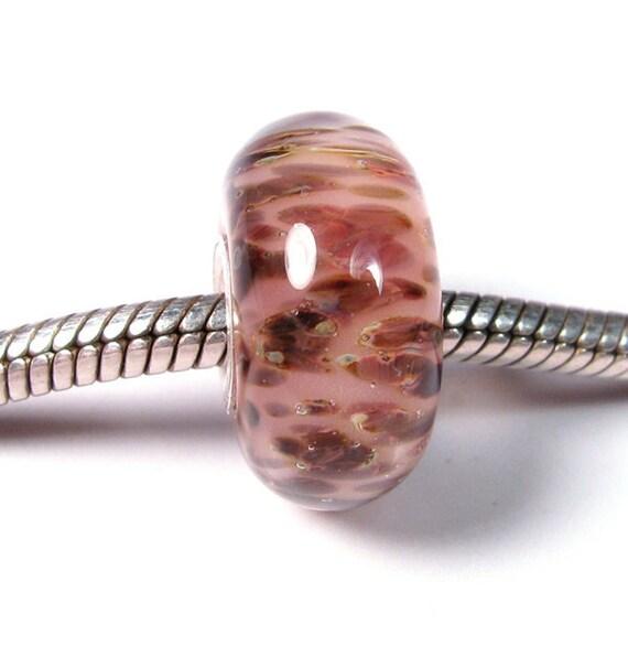 Large Hole Silver Core Charm Bead - Blushing Leopards - BBGLASSART Lampwork boro glass bead European Charm
