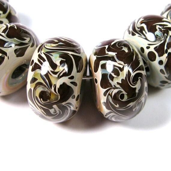 Chocolate Tan Filigree  BBGLASSART - Lampwork Boro Beads