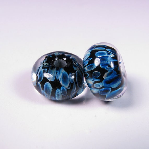 Lampwork Beads - Prussian Night - BBGLASSART - Lampwork Boro Bead Pair