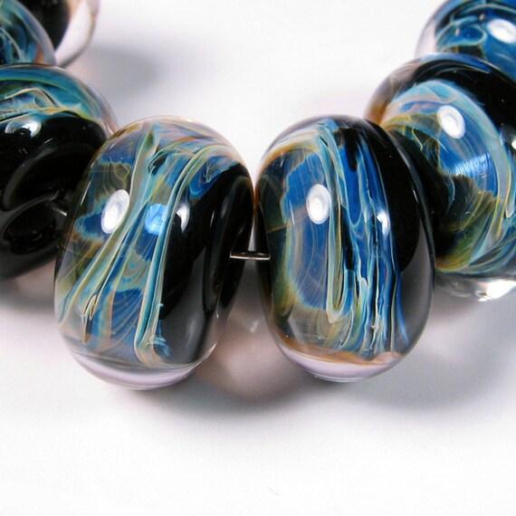 Black Violet Breeze - Lampwork Boro Beads - bbglassart - glass beads