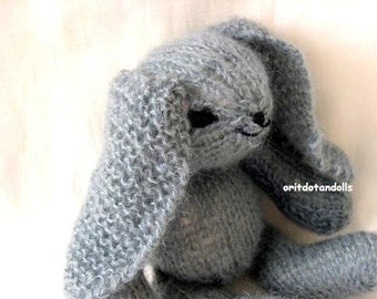 Wool bunny hand knitted of natural materials, 11inch