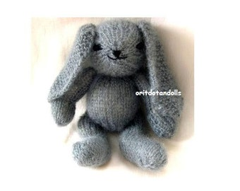 Wool bunny hand knitted of natural materials, 11inch/27.5cm