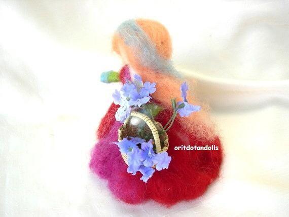 Flower fairy neeedle felted wool art doll, little girl with flowers, fiber arts Waldorf education