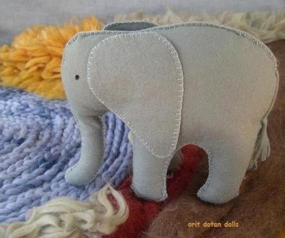 wool felt elephant made of natural materials