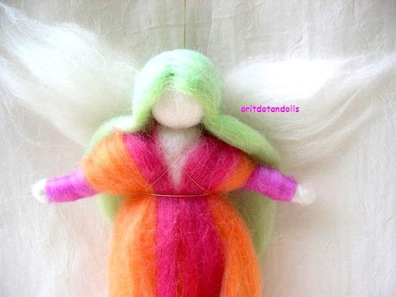 Wool blessing fairy, needle felted wall hanging art doll, made of merino wool Waldorf education