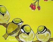 Yellow Chickadees -8x8 print