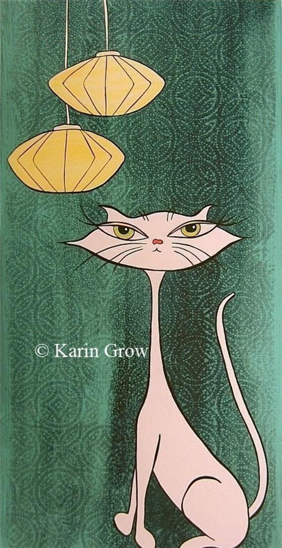 Meow Retro Kitty Print--18x9