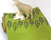 Handprinted Linen Short Scarf in Moss and Chocolate Leaves Motif