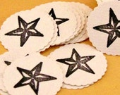 Star Envelope Seals Handmade Stamp Scalloped Stickers Set  of 20