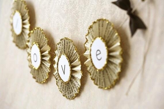 love . paper glitter garland
