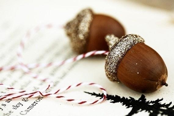 3 sets of golden acorns . ornaments