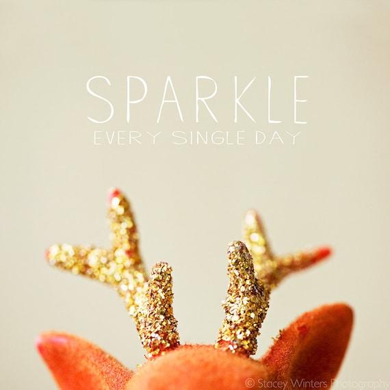 sparkle . glittered antlers mini print