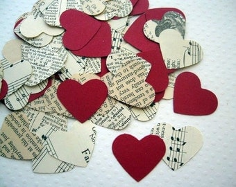 Vintage Wedding - Romantic Vintage Heart Confetti with Red Hearts