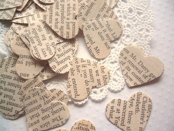 Vintage Pride and Prejudice Wedding Heart Confetti