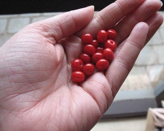 14 x Red Lampwork Spacer Beads
