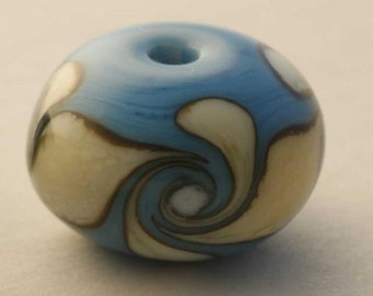 Twisted Sister 1 - Turquoise and Ivory Lampwork Glass Bead