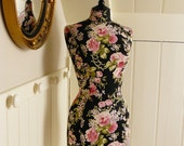 English Black Rose Corset Laced Mannequin Laura Ashley Dressform Bust - Emily