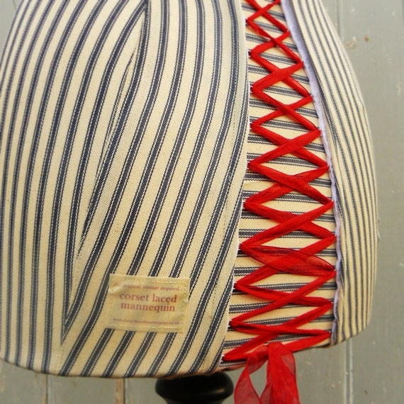 Mannequin Dressform Clothing Display Striped Ticking Corset & Laced - Betty
