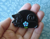 Polymer Clay Black Cat with Turquoise flower pin or magnet