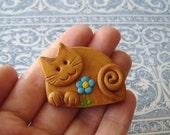 Polymer Clay Golden Cat with Turquoise flower pin or magnet