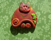Fimo Polymer Clay Autumn Cat with Leaves Brooch Pin or Magnet
