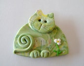 Fimo Polymer Clay Green Pastels Cat Brooch Pin or Magnet