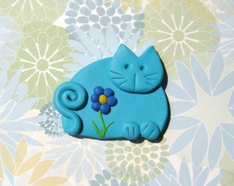 Turquoise Blue Kitten with flower pin or magnet