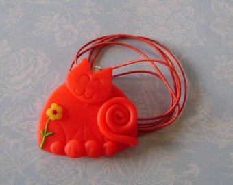 Fimo Polymer Clay Red Cat Pendant Necklace
