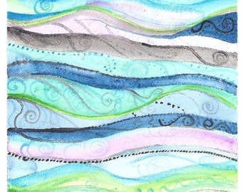 Waves and Swirls Watercolor