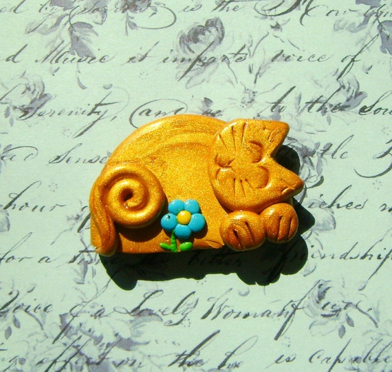 Cat Brooch or Magnet - Fimo Polymer Clay In Gold and Blue Kitten With Flower