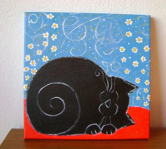 Black Cat Sleeping Acrylic Painting