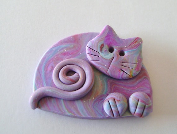 Fimo Polymer Clay Cat in Marbled Purples and Blues Brooch Pin or Magnet