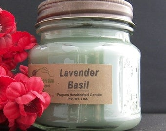 LAVENDER BASIL CANDLE - Strong - Fresh Clean Herbal Flowers