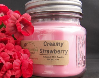 CREAMY STRAWBERRY SOY Candle - Highly Scented