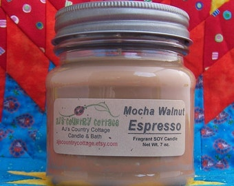 MOCHA WALNUT ESPRESSO Soy Candle - Chocolate Coffee Candle - Last Ones