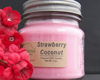 STRAWBERRY COCONUT SOY Candle - Highly Scented