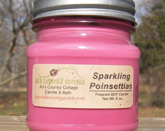 SPARKLING POINSETTIAS SOY Candle - Highly Scented