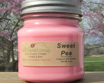 SWEET PEA SOY Candle - Highly Scented - Floral Flowers Fresh Spring