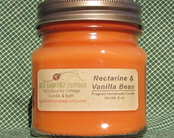 NECTARINE VANILLA BEAN Candle - Highly Scented - Strong - Fruit Coconut Orange