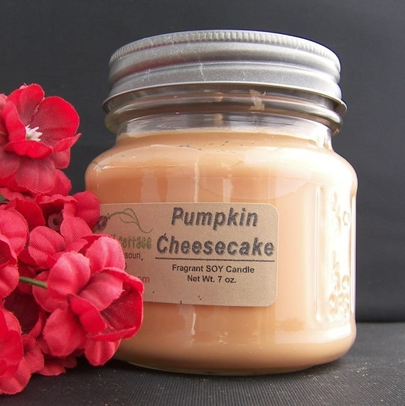 pumpkin cheesecake soy candle highly scented by