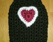 Dog Sweater, small dogs, dog clothing, sweaters, crochet, crochet sweaters, black, red, Valentines day, pets, pet clothing