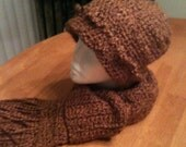 Warm brown scarf and hat Lion Brand Homespun Hand crocheted